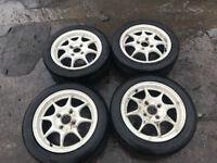 "honda integra dc2 type r alloys 15"" 4x114 with prada spec 2 tyres"