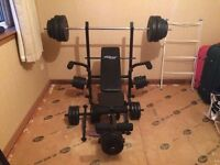 Weight Bench, Bars and over 75kg of weights