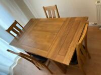 Oak Furniture Land Sherwood Rustic solid Oak 3ft extending dining table with 4 chairs