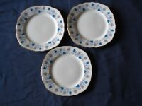 3 Royal Vale bone china side/tea plates, blue leaves, in very good condition