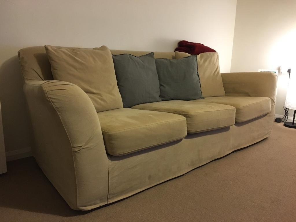3 seat sofa and lamp