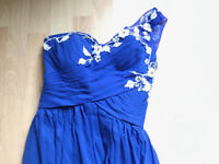 size 6, brand new, one-shoulder, floor length chiffon evening dress in royal blue