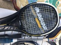 4 x badminton rackets & 1 squash racket & covers