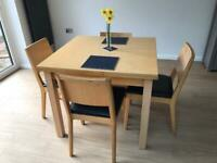 Beech dining table + 4 chairs: BH10