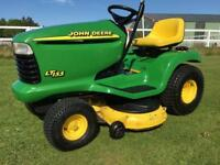 Superb big professional John Deere ride on mower sit on lawnmower garden mulching lawn tractor
