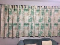 2 pairs of thick cotton curtains, green & cream with gold detail.
