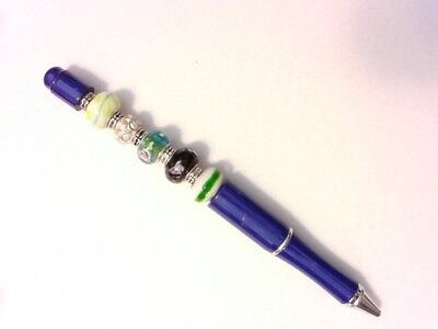 Fancy Artistic Pen - Lampwork Beads - Customizable by You - Green, White - Customizable Pens