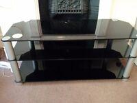 TV Rack - 3 shelves tempered glass rack