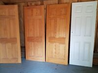 Internal doors x 4 3 solid pine wood one painted not pine