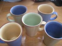 5 x LARGE DENBY STONEWARE JUICE MUGS WITH GLAZED INSIDES