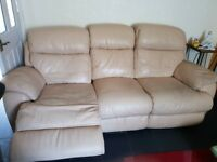 Three seater white leather recliner one swivel chair and footstool