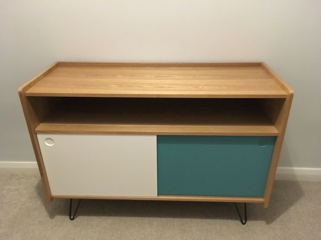 maisons du monde tv unit/console table brand new wooden with white and blue  | in Streatham, London | Gumtree