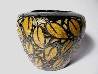 Jugendstil Keramik Vase Laeuger Blätter Schlickermalerei