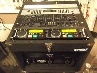 DJ SET UP WITH MIXER AND 1000 WATT AMP PLUS EQ IN CASE
