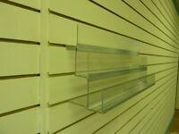 3 tier acrylic slatwall racking, 600mm wide