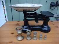 Vintage,Collectable,Cast Iron Scales,With Set Of Brass Bell Weights.