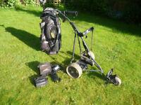 Powakaddy cart bag, Powacaddy trolley, Litepower lithium battery and charger.