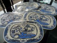 6 Blue Willow Table Mats