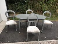 Antique balloon back chairs & Queen Anne style table