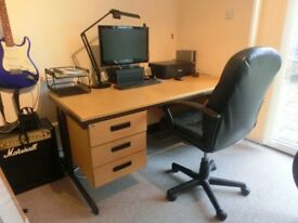 Large office desk and/or faux leather chair