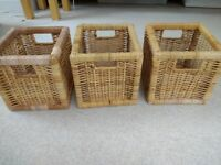 3 IKEA rattan storage boxes - excellent condition!