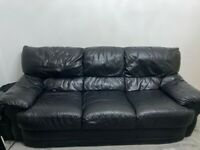 2 x Three seater black sofa's - good condition (collection only) - £80 for both ono