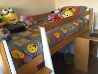 Mid sleeper bed and bookcase