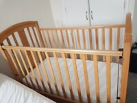 Mamas and papas Guinivere Cot and John Lewis Mattress