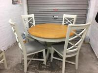 Oak and white dining table and chairs