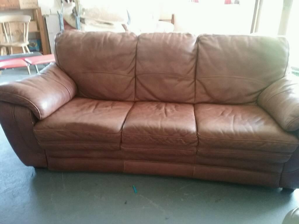 leather tan sofa   in dereham, norfolk   gumtree