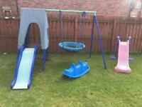Large lot of outdoor toys, slide, wing, tent playhouse etc