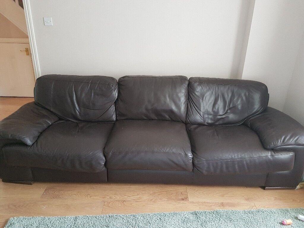 Harveys Large Brown Leather Sofa Corner Unit