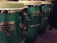 LP matador congas - Raul Rekow signature series in Sparkle Green with stands and cases