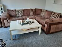 L-shaped sofa & cuddle chair with storage pouffe