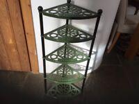 Genuine cast iron Le Creuset corner pot stand. Green/black uprights