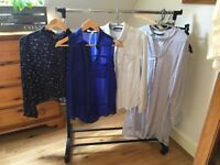 Divers clothes..jumpers shirts trousers and a bag. Sizes S for shirts, 44 for stripes one.