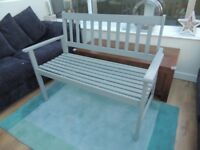Furniture Lightweight Garden / Conservatory Bench freshly painted in grey and bespoke bench cushion