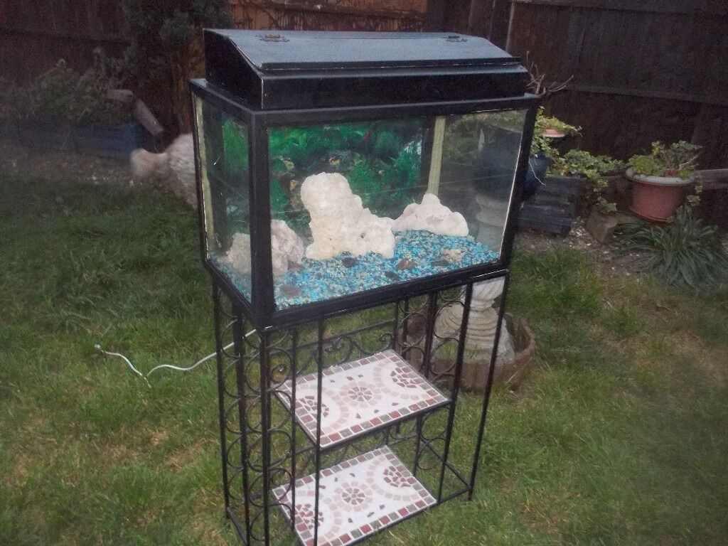 ** REDUCED ** AQUARIUM / FISH TANK PLUS A STAND + LIGHTS + GRAVEL + ORNAMENTS 2ft x 4ft high
