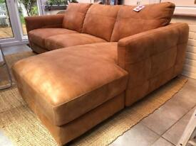 Leather sofa L shape right hand side three seater