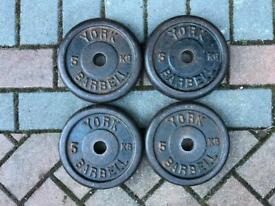 "York 5kg x 4 Cast Iron weight plates 1"" hole"