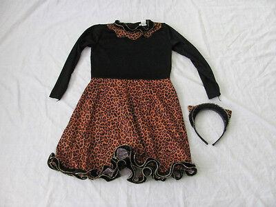 Jung Mädchen Bengalkatze Kleid Halloween Kostüm Größe 4-6 mit Stirnband Ohren ()