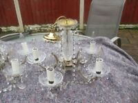 2 SETS OF VINTAGE SHABBY CHIC MARIE THERESA 5 LIGHT GLASS CHANDELIERS WITH CANDLE BULBS