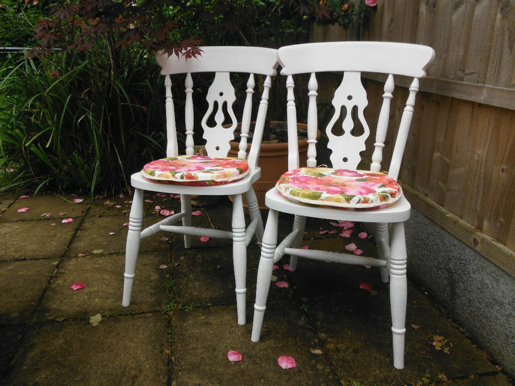 Pair of painted pine chairs with seat cushions in Poole  : 86 from www.gumtree.com size 1024 x 768 jpeg 147kB