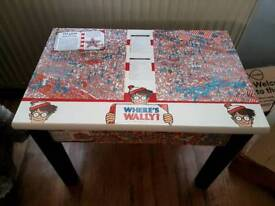 Child's pine table with where's wally