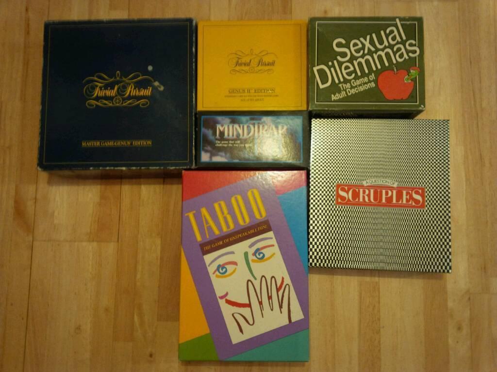 Trivial Pursuit/Scruples/Taboo/MindTrap/Sexual Dilemmas Games