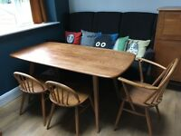 Beautiful Ercol plank dining table in solid elm