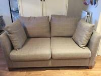 NEXT 2 seater grey check sofa with cushions