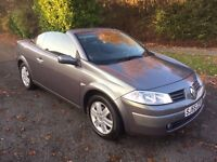 MEGANE CONVERTIBLE 55 REG 1.6 DYNAMIQUE IN THUNDER GREY, SERVICE HISTORY, MOT OCT,PETER 07867 955762