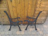 Metal garden seat ends