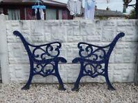 cast iron bench ends / garden bench / outdoor furniture / patio / garden / vintage garden bench ends